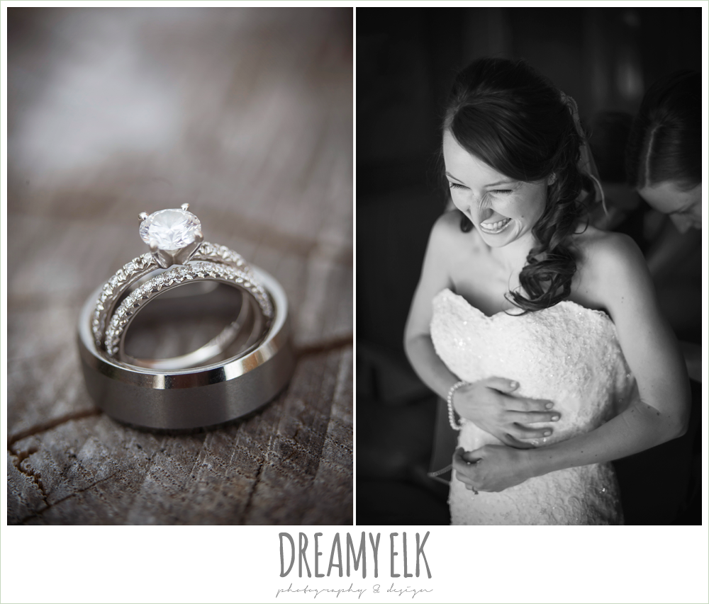solitaire engagement ring, wedding rings, bride putting on dress, pine lake ranch, photo {dreamy elk photography and design}