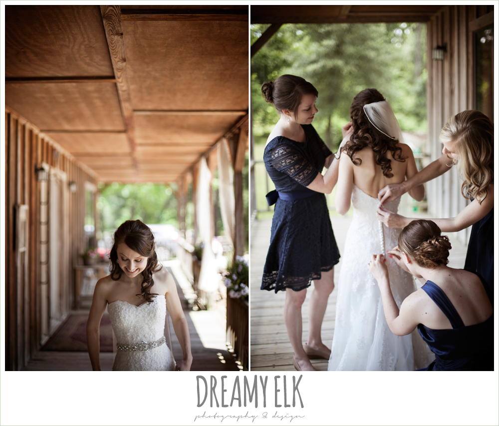 bride getting dressed on the porch, buttoning the wedding dress, pine lake ranch, photo {dreamy elk photography and design}