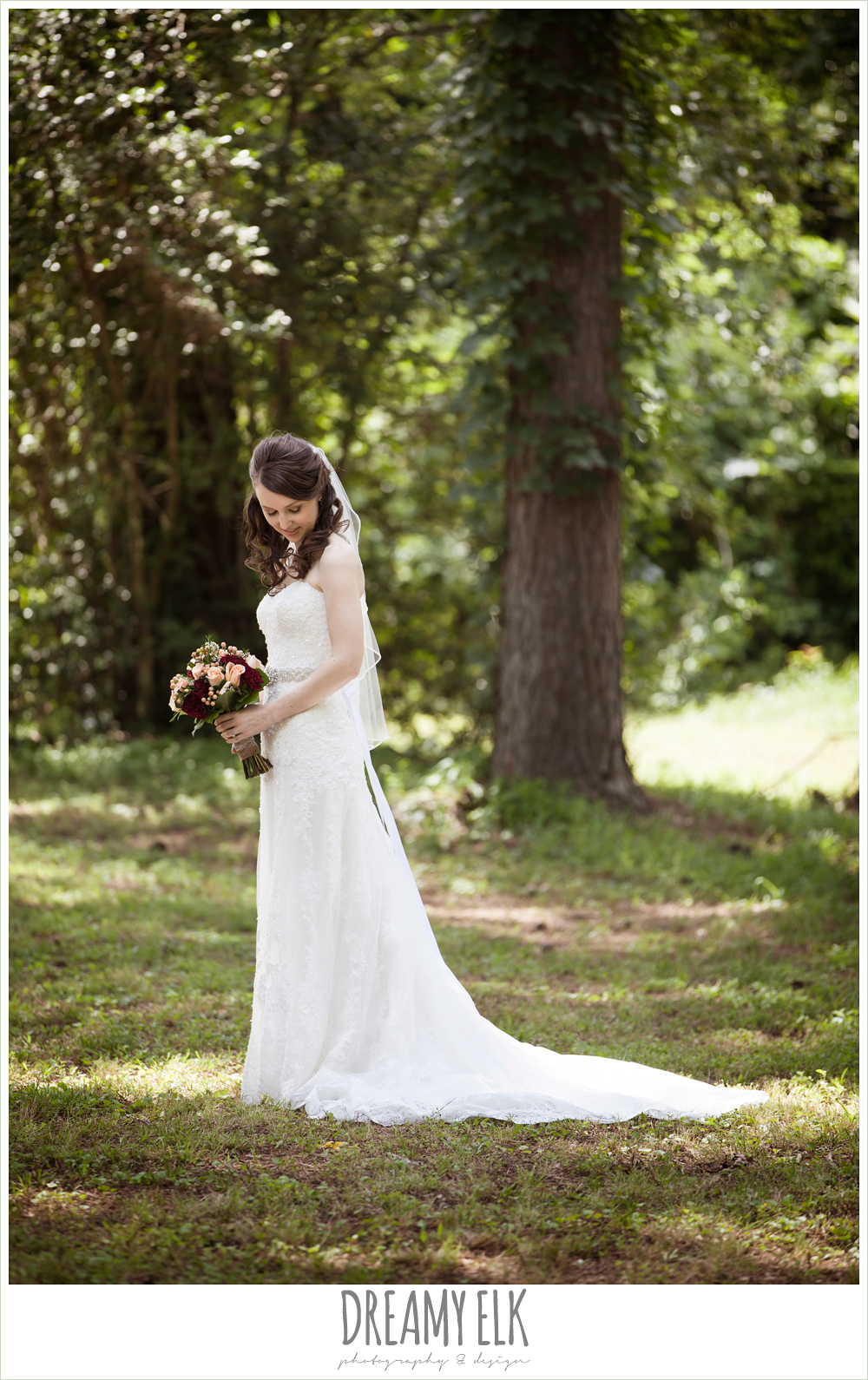 strapless lace wedding dress with rhinestone belt, pine lake ranch, photo {dreamy elk photography and design}