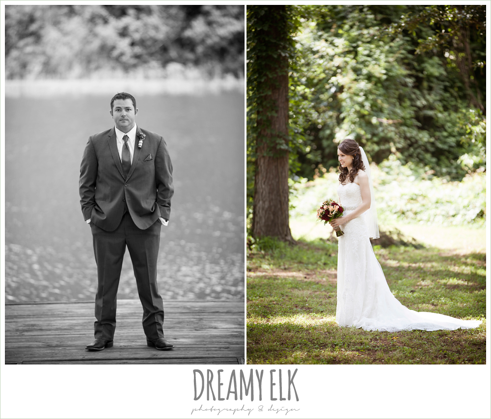 groom standing on a dock, strapless lace wedding dress, pine lake ranch, photo {dreamy elk photography and design}