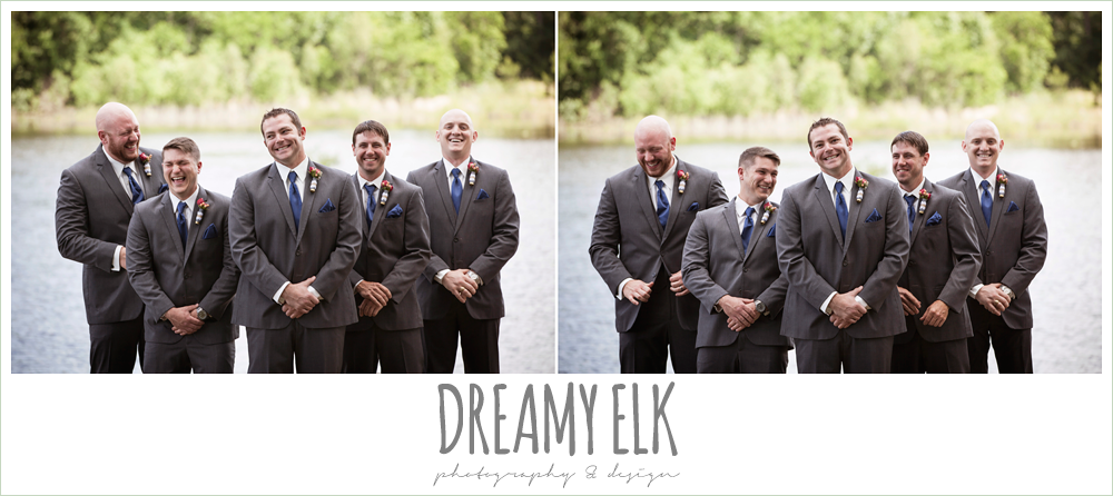 groom and groomsmen laughing, gray suits and navy ties, pine lake ranch, photo {dreamy elk photography and design}