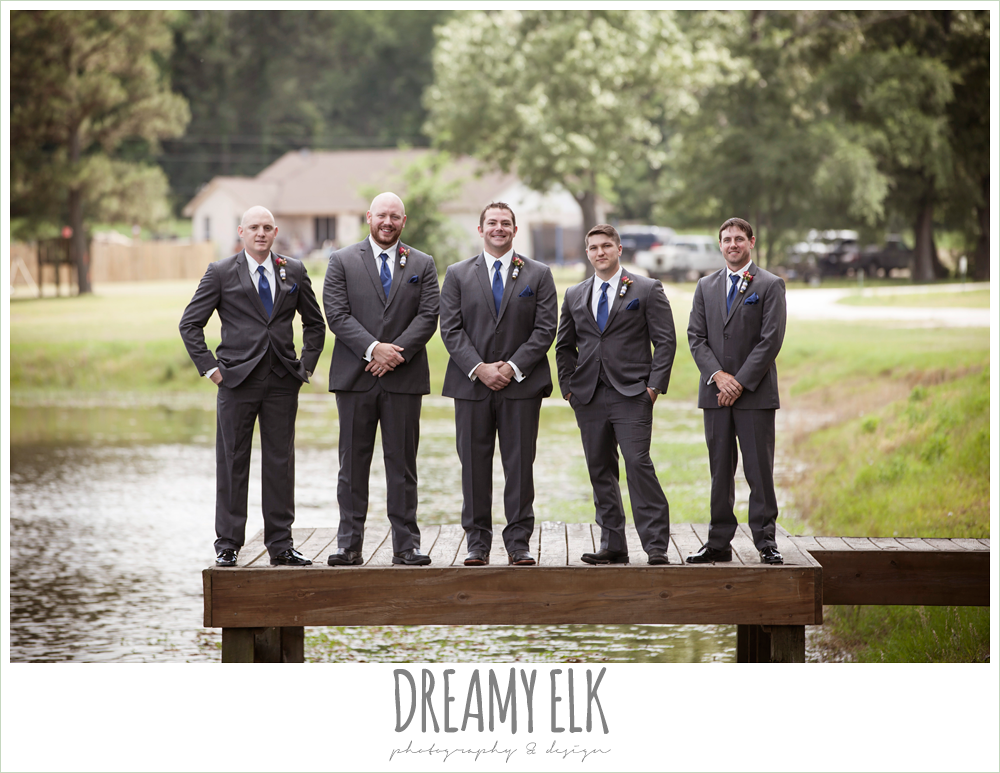 groom and groomsmen standing on a dock, gray suits and navy ties, pine lake ranch, photo {dreamy elk photography and design}