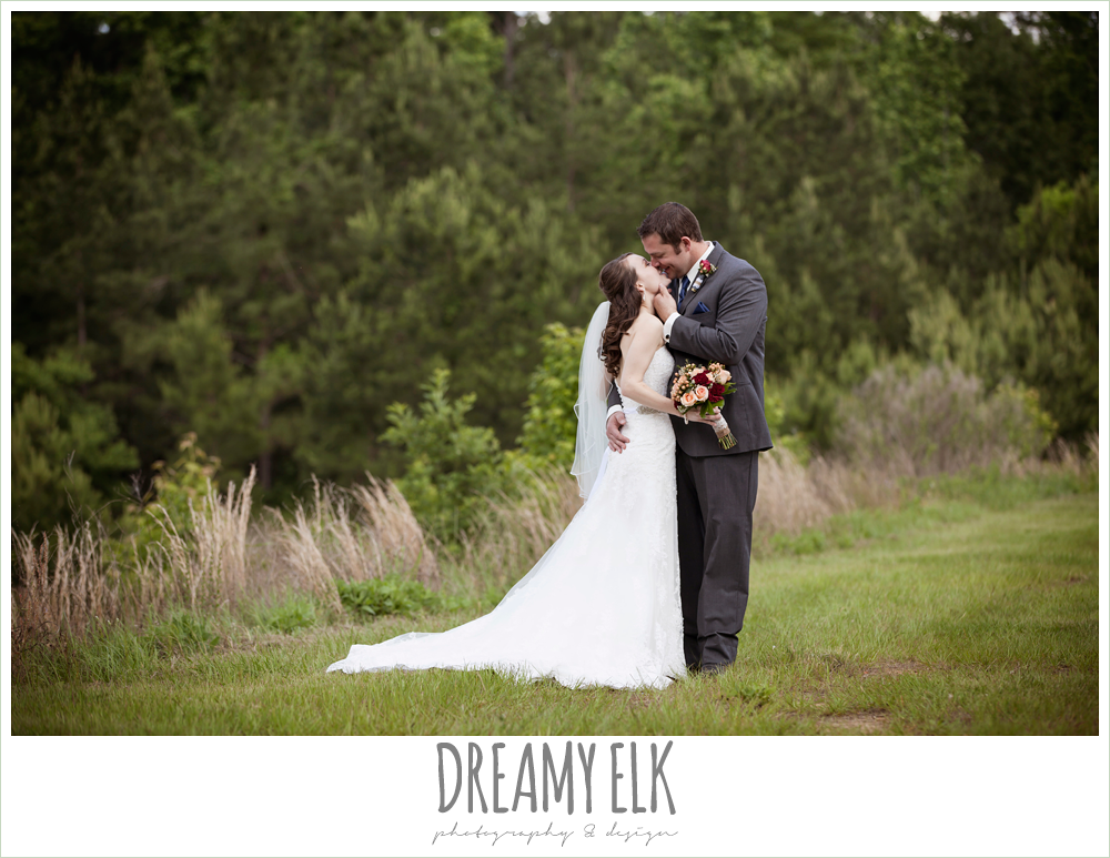 bride and groom, strapless lace wedding dress, gray suit and navy tie, pine lake ranch, photo {dreamy elk photography and design}