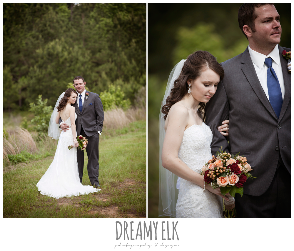 bride and groom, strapless lace wedding dress, gray suit and navy tie, peach and red wedding bouquet, pine lake ranch, photo {dreamy elk photography and design}