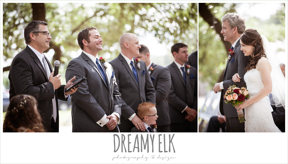 groom's reaction to bride walking down the aisle, pine lake ranch, photo {dreamy elk photography and design}