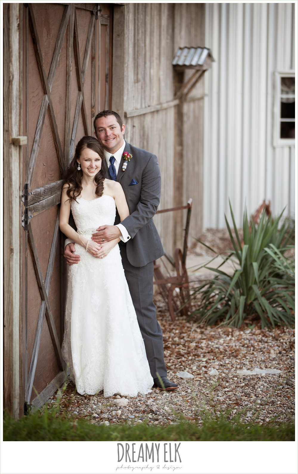 strapless lace wedding dress with belt, gray suit and navy tie, pine lake ranch, rustic wedding photo {dreamy elk photography and design}
