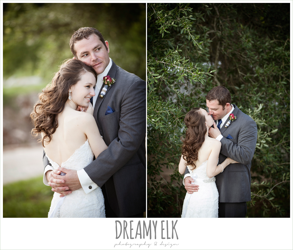 bride and groom kissing, strapless lace wedding dress with belt, gray suit and navy tie, pine lake ranch, rustic wedding photo {dreamy elk photography and design}