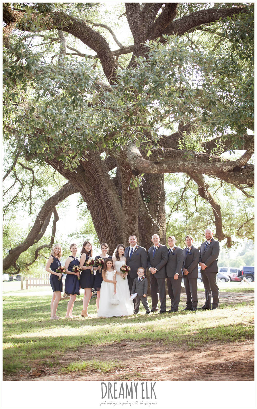 bridal party photo under an oak tree, strapless lace wedding dress with belt, gray suit and navy tie, pine lake ranch, rustic wedding photo {dreamy elk photography and design}