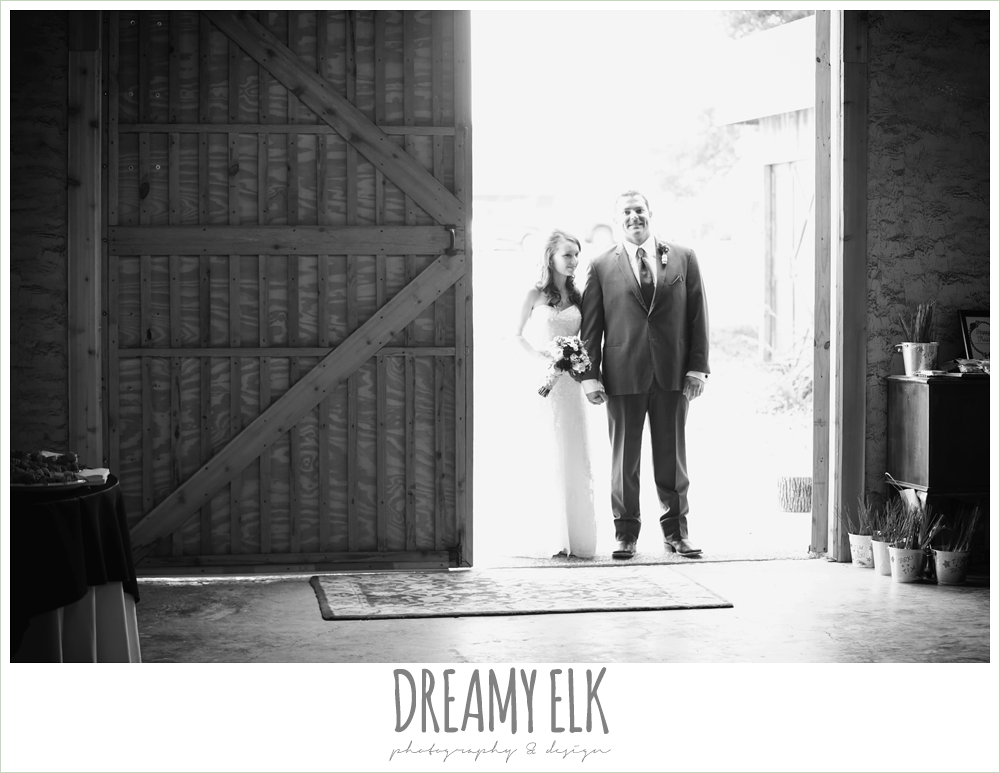 bride and groom reception entrance, strapless lace wedding dress with belt, gray suit and navy tie, pine lake ranch, rustic wedding photo {dreamy elk photography and design}