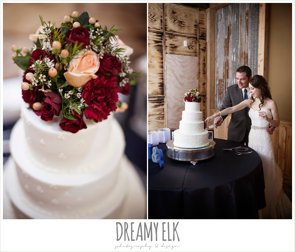 bride and groom cutting the cake, peach and red flowers on wedding cake, pine lake ranch, rustic wedding photo {dreamy elk photography and design}
