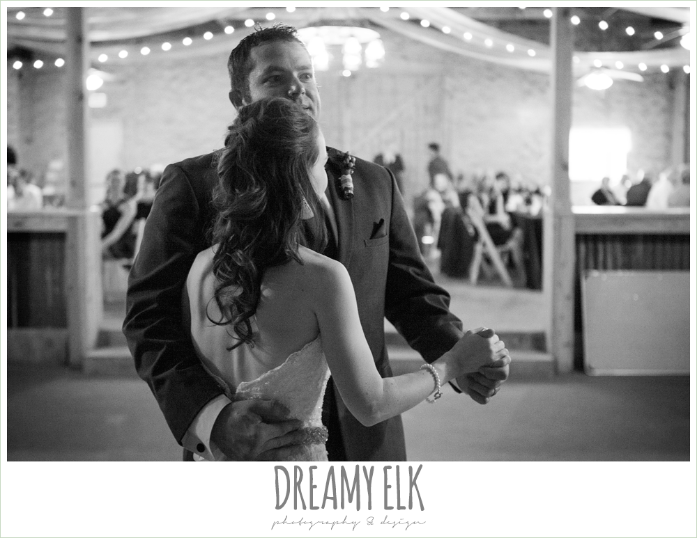 bride and groom's first dance, strapless lace wedding dress with belt, pine lake ranch, rustic wedding photo {dreamy elk photography and design}