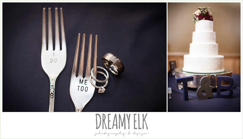 """wedding rings, """"i do"""" and """"me too"""" forks, four tier wedding cake, pine lake ranch, rustic wedding photo {dreamy elk photography and design}"""