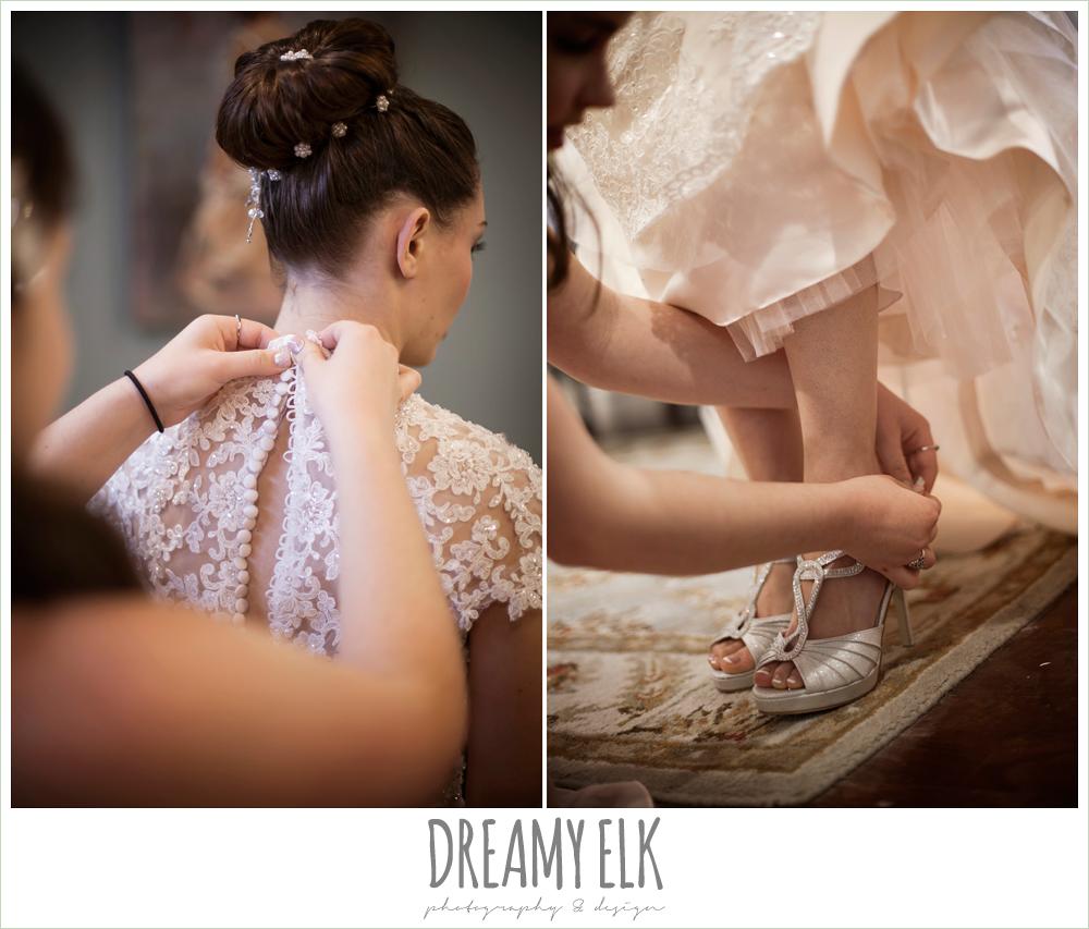 wedding hair updo bun, blush pink wedding dress, silver wedding shoes, bride getting dressed, northeast wedding chapel, photo {dreamy elk photography and design}