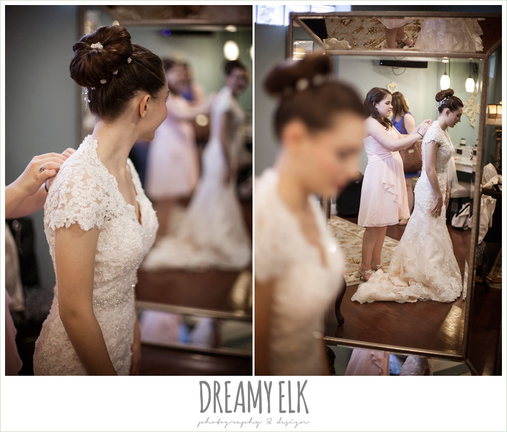 wedding hair updo bun, blush pink wedding dress, bride getting dressed, northeast wedding chapel, photo {dreamy elk photography and design}