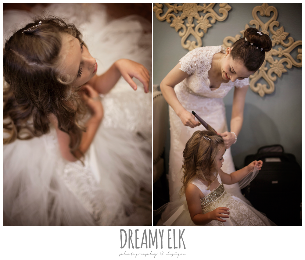 bride doing flower girl's hair, wedding hair updo bun, blush pink wedding dress, bride getting dressed, northeast wedding chapel, photo {dreamy elk photography and design}
