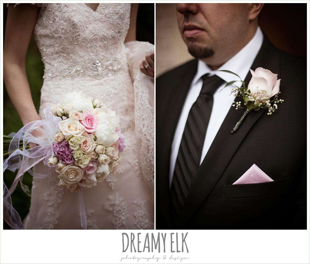 blush pink wedding dress, blush pink and purple wedding bouquet, boutonniere, northeast wedding chapel, rainy wedding day photo {dreamy elk photography and design}