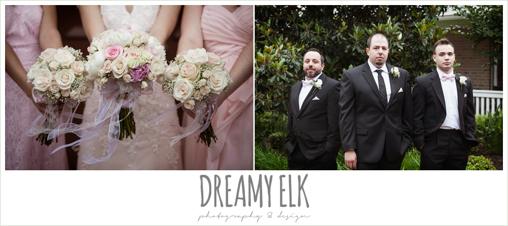 blush pink wedding dress, pink bridesmaids dresses, blush wedding bouquet with ribbon, black suits with pink bowties, northeast wedding chapel, rainy wedding day photo {dreamy elk photography and design}