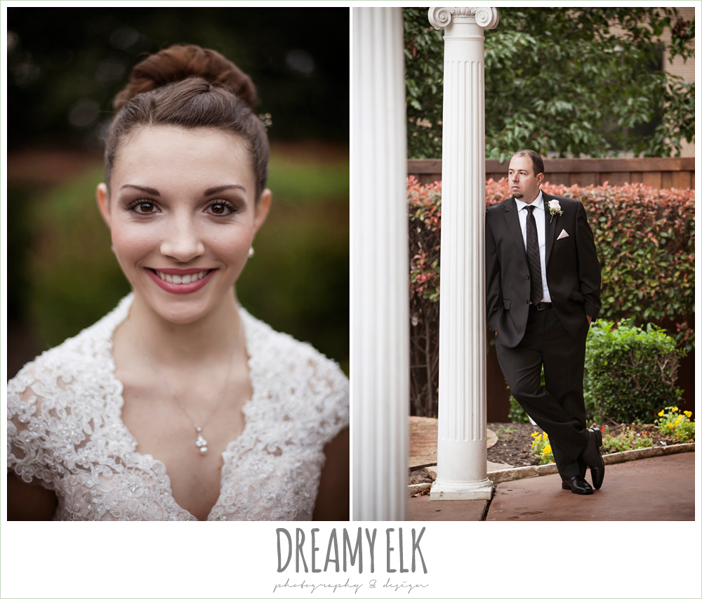 wedding hair updo bun, blush pink wedding dress with  lace sleeves, black suit with pink boutonniere, northeast wedding chapel, rainy wedding day photo {dreamy elk photography and design}
