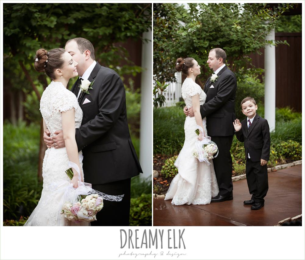 blush pink wedding dress, blush wedding bouquet with ribbon, groom in black suit, northeast wedding chapel, rainy wedding day photo {dreamy elk photography and design}