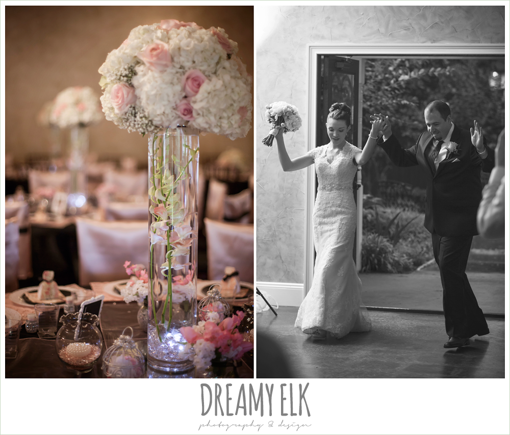 blush pink and black wedding reception decor, tall table floral centerpieces, bride and groom entering reception, northeast wedding chapel, rainy wedding day photo {dreamy elk photography and design}