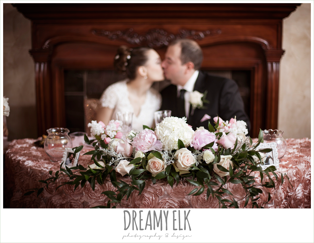 pink and white cascading table floral arrangement, pink rose table cloth, northeast wedding chapel, rainy wedding day photo {dreamy elk photography and design}