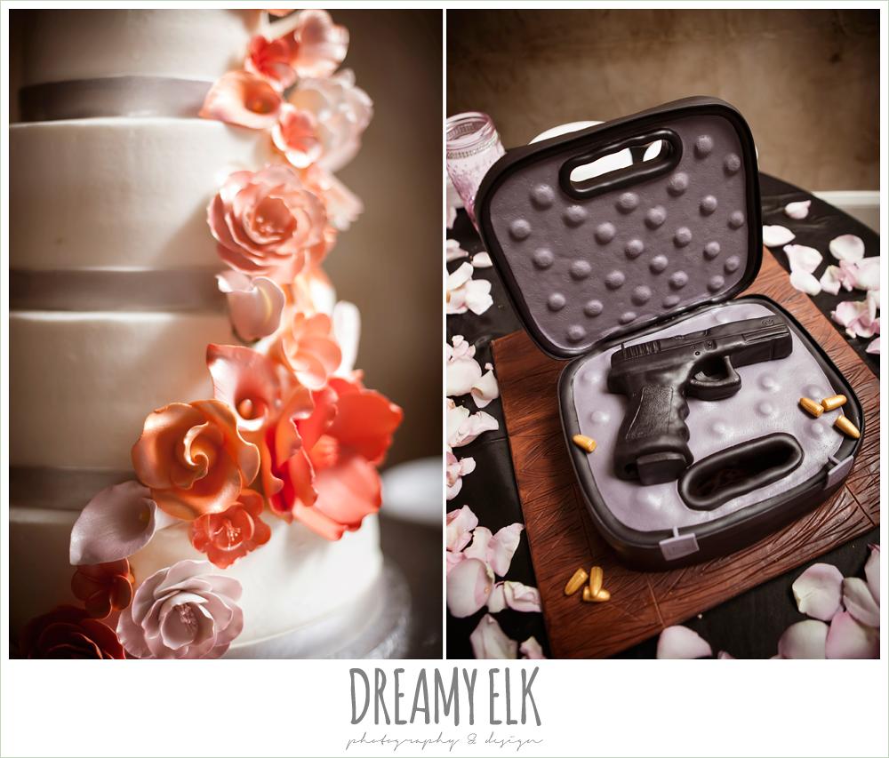 four tier wedding cake with fondant flowers, gun shaped grooms cake, northeast wedding chapel, rainy wedding day photo {dreamy elk photography and design}