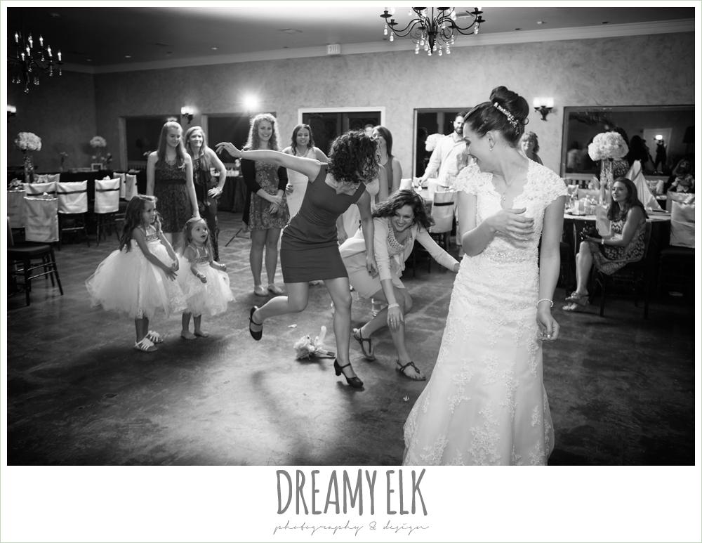 girls catching wedding bouquet, northeast wedding chapel, rainy wedding day photo {dreamy elk photography and design}