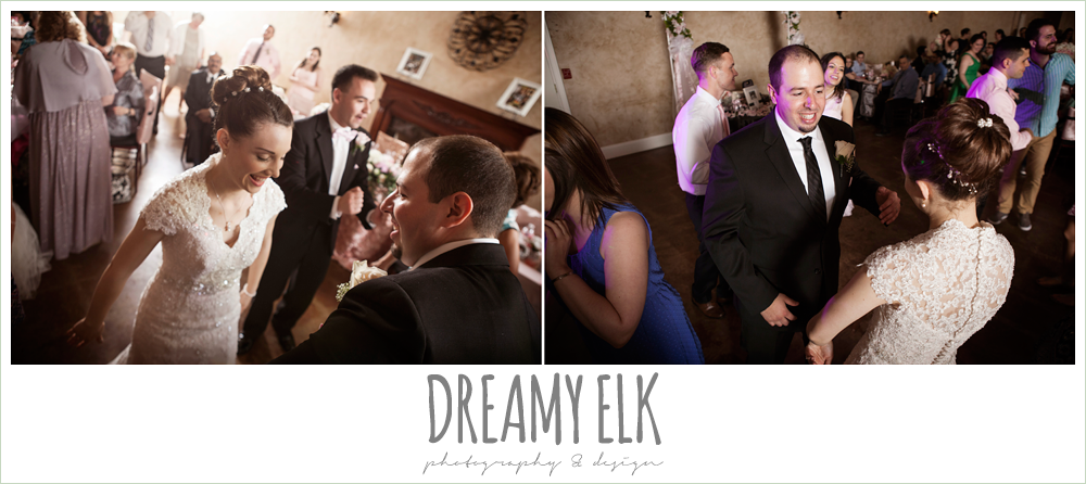 guests dancing at wedding reception, northeast wedding chapel, rainy wedding day photo {dreamy elk photography and design}