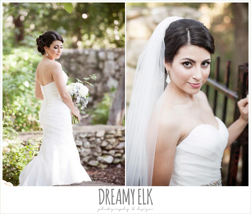 strapless wedding dress, summer bridal photo, mayfield park, austin, texas {dreamy elk photography and design}