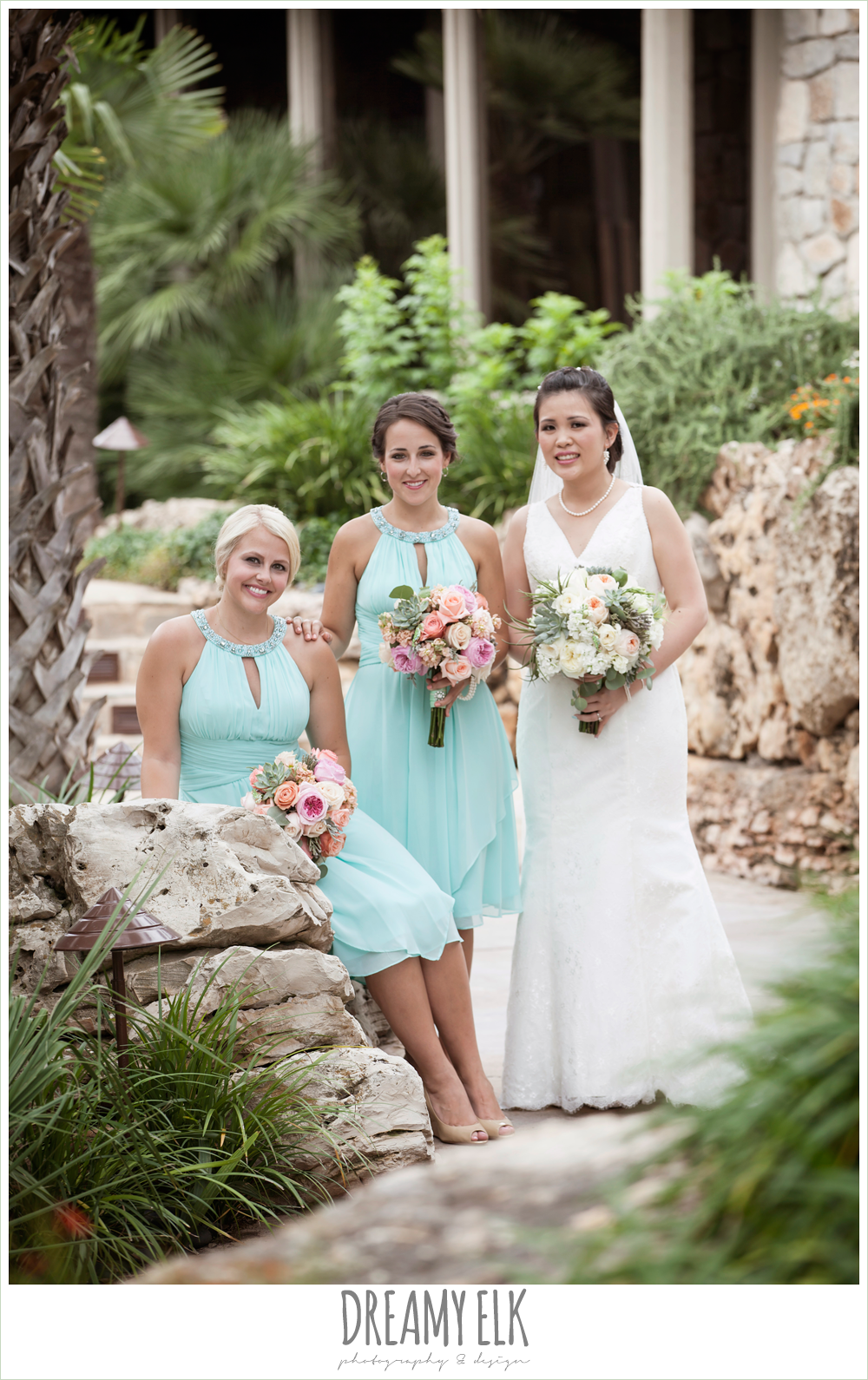 bride and bridesmaids, lace two shouldered wedding dress, aqua bridesmaid dress, nautical theme wedding, horseshoe bay resort, photo {dreamy elk photography and design}