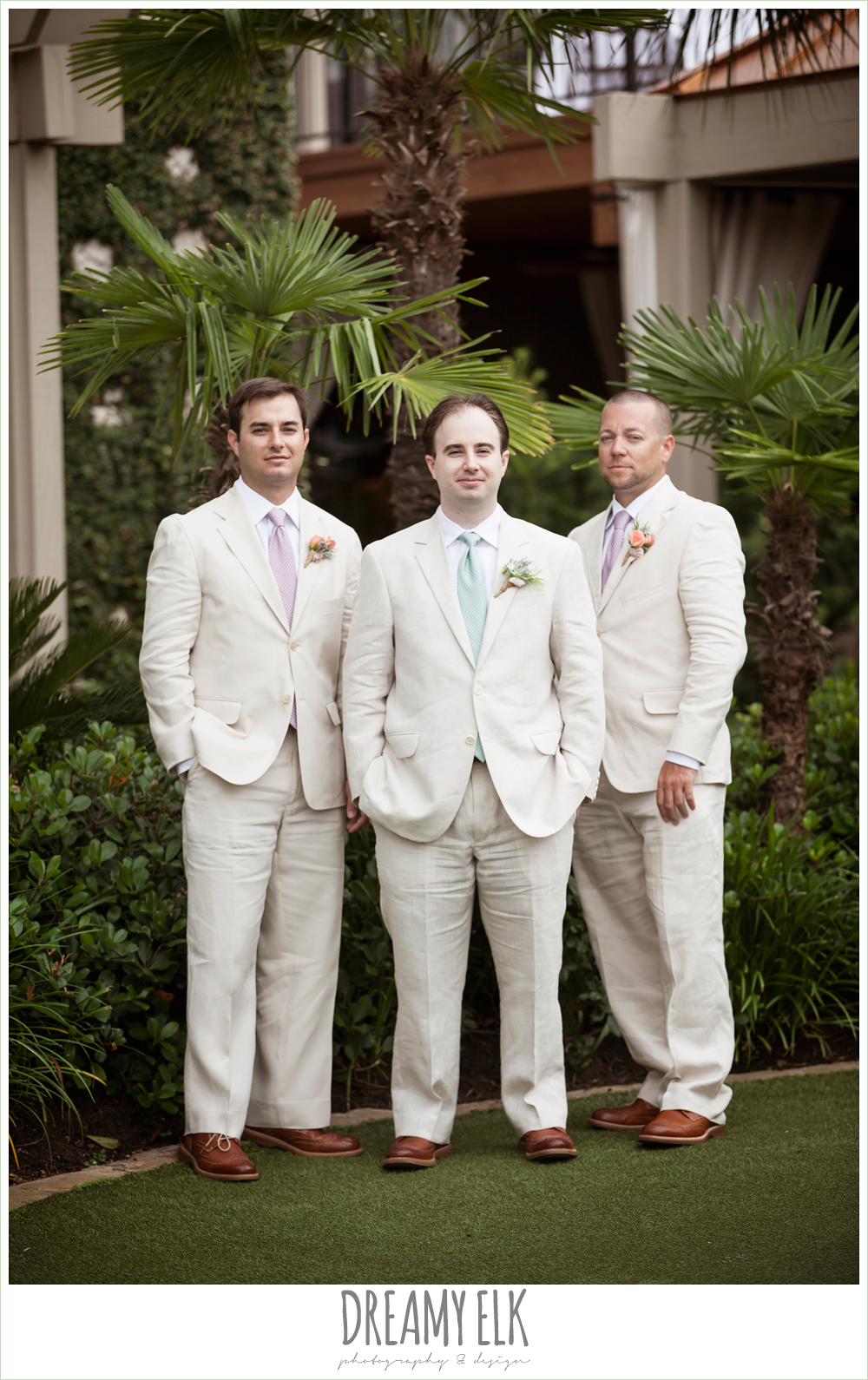 groom and groomsmen in linen suits, nautical themed wedding, horseshoe bay resort photo {dreamy elk photography and design}