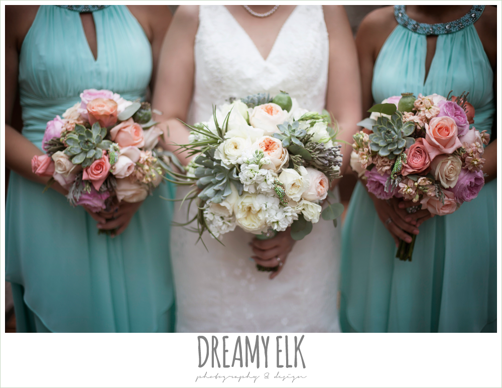 bride and bridesmaids, lace two shouldered wedding dress, aqua bridesmaid dress, pink coral and succulent wedding bouquet, magpie blossom boutique, nautical themed wedding, horseshoe bay resort photo {dreamy elk photography and design}