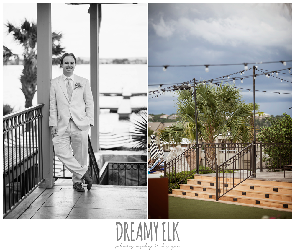 groom in linen suit, nautical themed wedding, horseshoe bay resort photo {dreamy elk photography and design}
