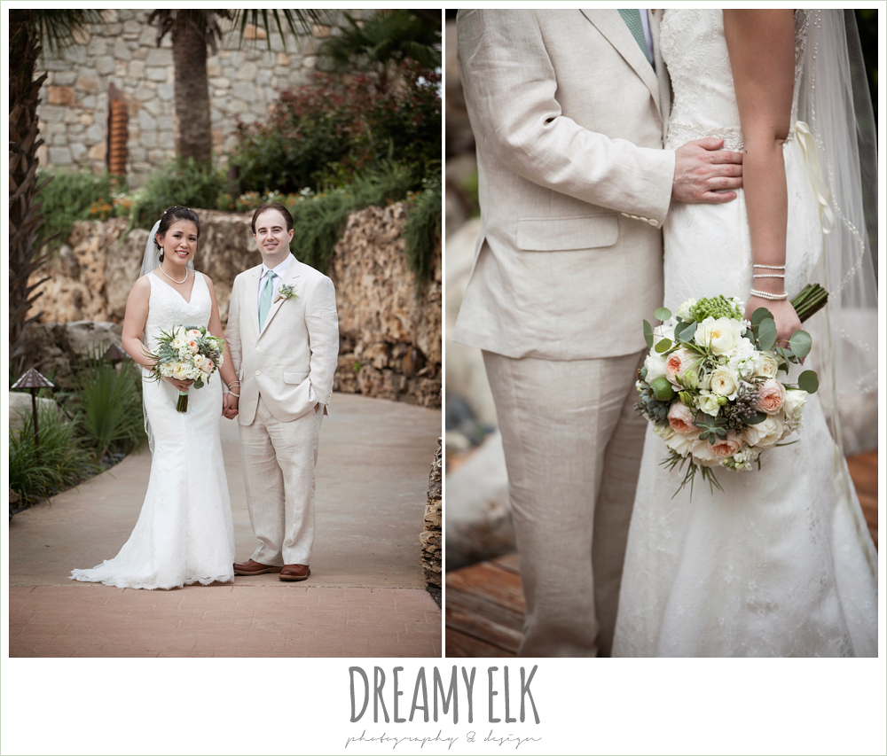 outdoor bride and groom portraits, groom in linen suit, lace two shouldered wedding dress, succulent wedding bouquet, magpie blossom boutique, nautical themed wedding, horseshoe bay resort, frills consulting photo {dreamy elk photography and design}