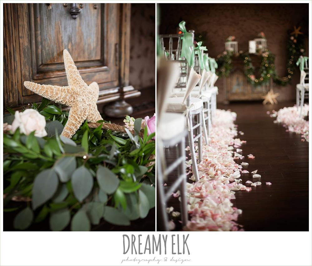 indoor wedding ceremony, rose petals lining aisle, greenery garland, magpie blossom boutique, nautical themed wedding, horseshoe bay resort, frills consulting photo {dreamy elk photography and design}