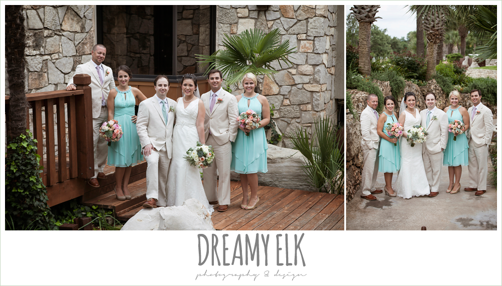 bridal party, groom and groomsmen in linen suits, lace two shouldered wedding dress, aqua bridesmaid dress, pink coral and succulent wedding bouquet, magpie blossom boutique, nautical themed wedding, horseshoe bay resort, frills consulting photo {dreamy elk photography and design}
