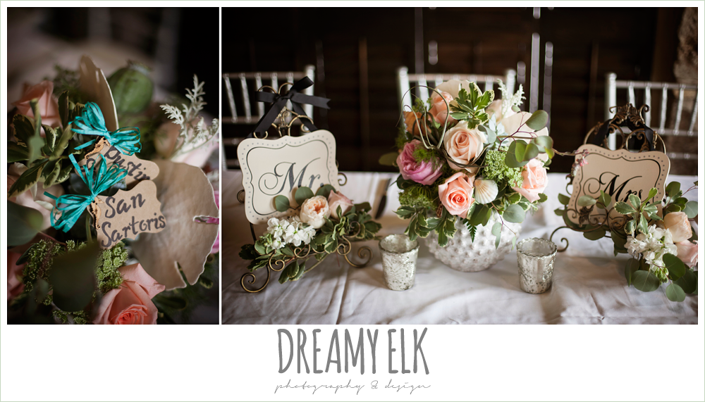 indoor wedding reception, table floral centerpieces, table numbers, magpie blossom boutique, nautical themed wedding, horseshoe bay resort, frills consulting photo {dreamy elk photography and design}
