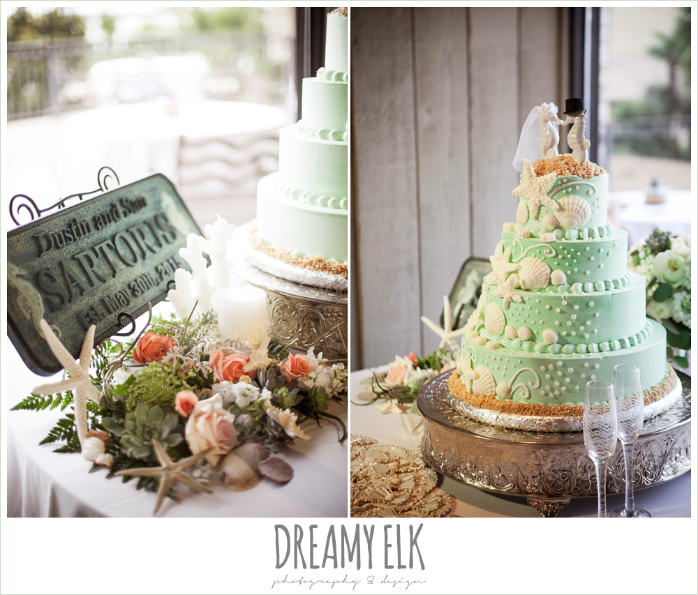 indoor wedding reception, cake table decorations, customized family established sign, four tier wedding cake, seahorse cake topper, magpie blossom boutique, nautical themed wedding, horseshoe bay resort, frills consulting photo {dreamy elk photography and design}