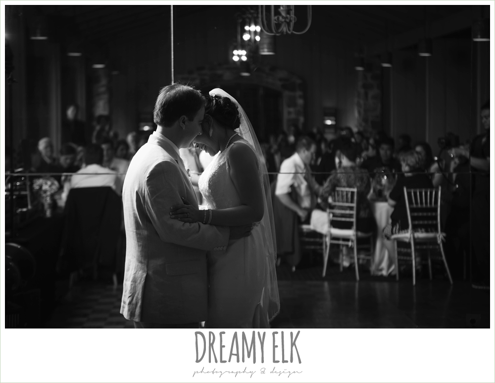 bride and groom's first dance, indoor wedding reception, nautical themed wedding, horseshoe bay resort, frills consulting photo {dreamy elk photography and design}