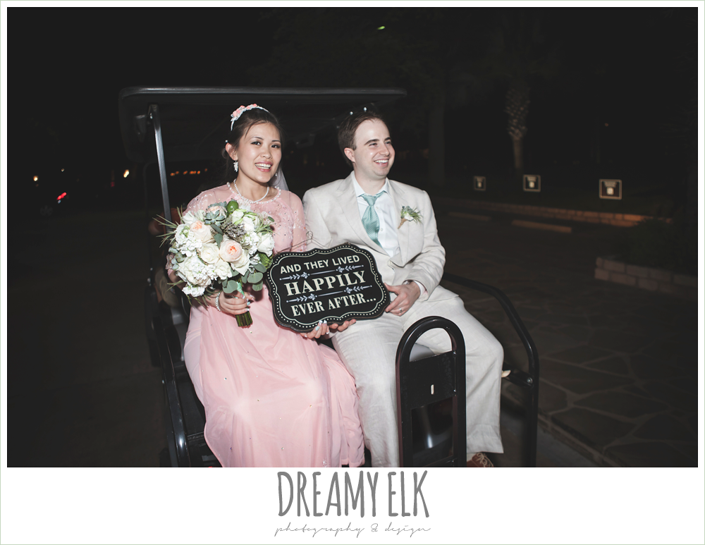 bride and groom leaving wedding on golf cart, nautical themed wedding, horseshoe bay resort, frills consulting photo {dreamy elk photography and design}