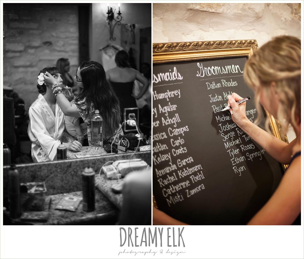 bride getting makeup done, chalkboard wedding program, pecan springs, houston, texas, photo {dreamy elk photography and design}
