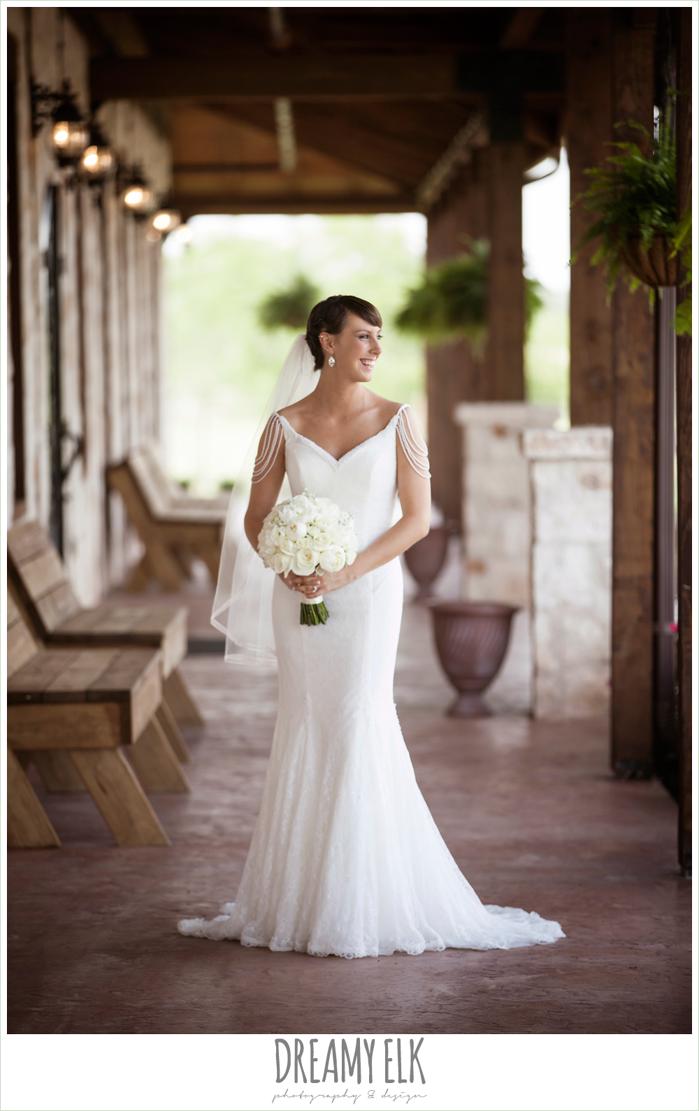 outdoor bridal portrait on porch, pearl draped sleeve lace wedding dress, white wedding bouquet, pecan springs, houston, texas, photo {dreamy elk photography and design}