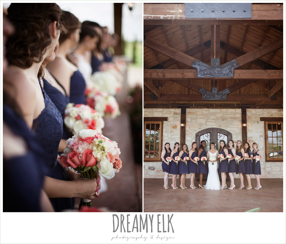 navy mix matched bridesmaids dresses, pink and white bouquets, outdoor bridal portrait on porch, pearl draped sleeve lace wedding dress, white wedding bouquet, pecan springs, houston, texas, photo {dreamy elk photography and design}