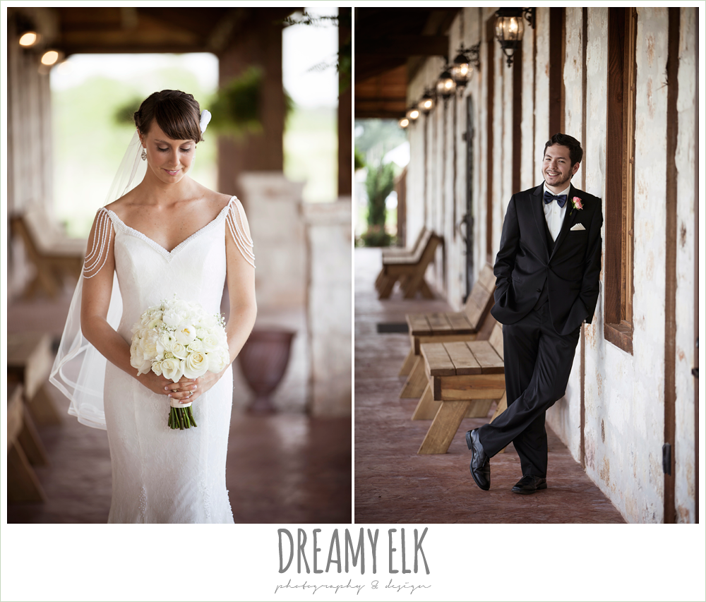 outdoor bridal photo, outdoor photo of groom, classic tux with navy bowtie, outdoor bridal portrait on porch, pearl draped sleeve lace wedding dress, white wedding bouquet, pecan springs, houston, texas, photo {dreamy elk photography and design}