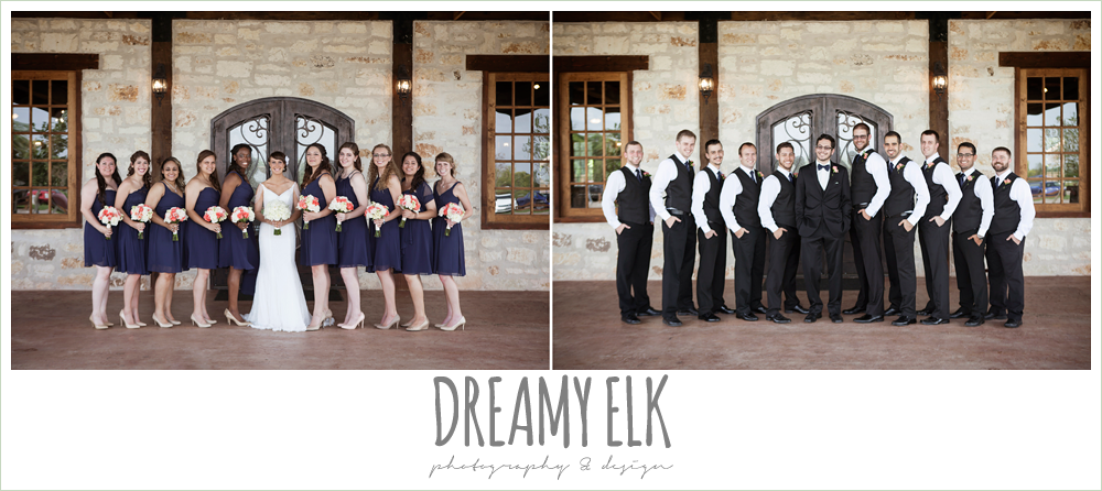 large bridal party, ten bridesmaids, ten groomsmen, navy mix matched bridesmaids dresses, groomsmen in vests and bowties, outdoor bridal portrait on porch, pearl draped sleeve lace wedding dress, white wedding bouquet, pecan springs, houston, texas, photo {dreamy elk photography and design}