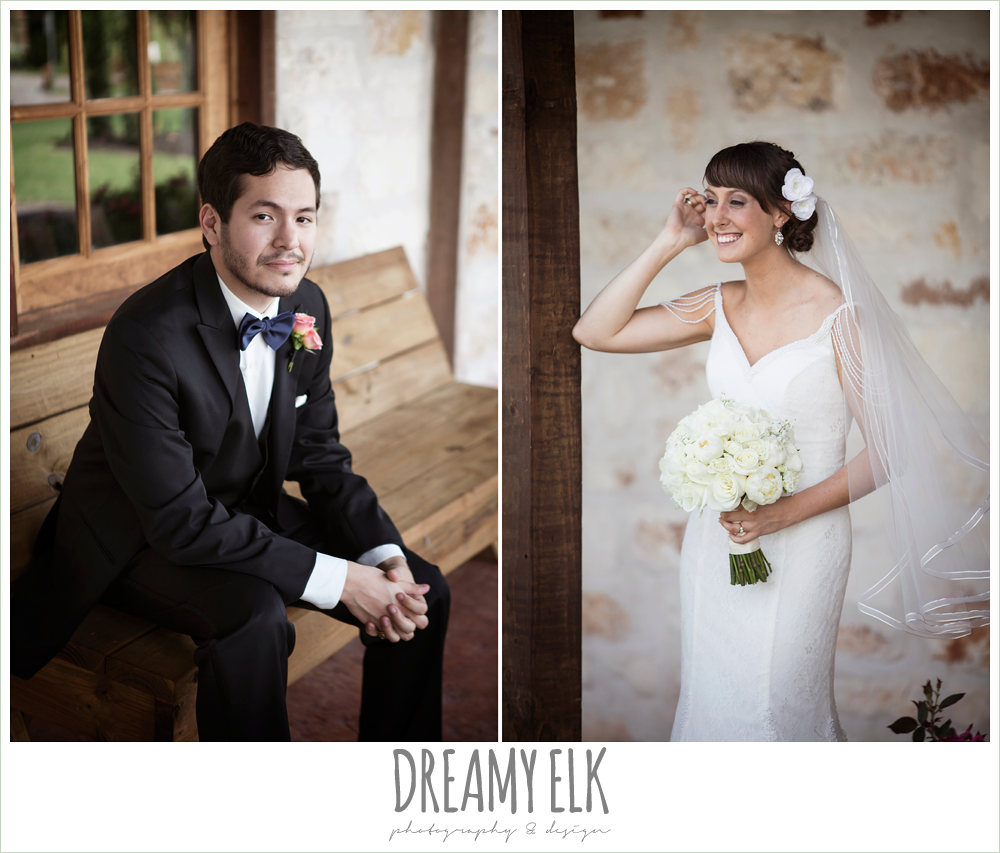 classic tux with navy bowtie, outdoor bridal portrait on porch, pearl draped sleeve lace wedding dress, white wedding bouquet, pecan springs, houston, texas, photo {dreamy elk photography and design}