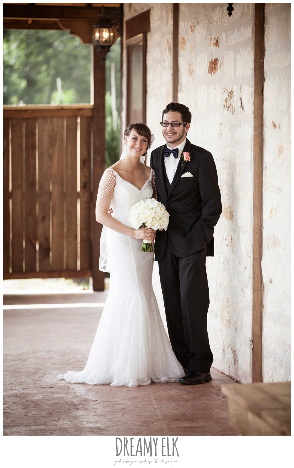 bride and groom portraits, outdoor bridal portrait on porch, pearl draped sleeve lace wedding dress, white wedding bouquet, pecan springs, houston, texas, photo {dreamy elk photography and design}