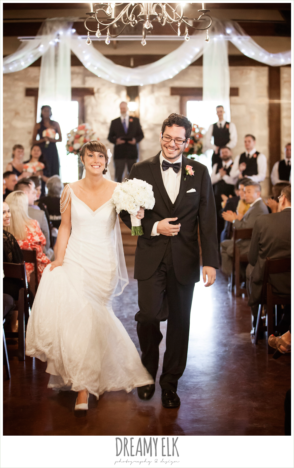 bride and groom walking down the aisle, white wedding bouquet, lace wedding dress, pecan springs, houston, texas, photo {dreamy elk photography and design}