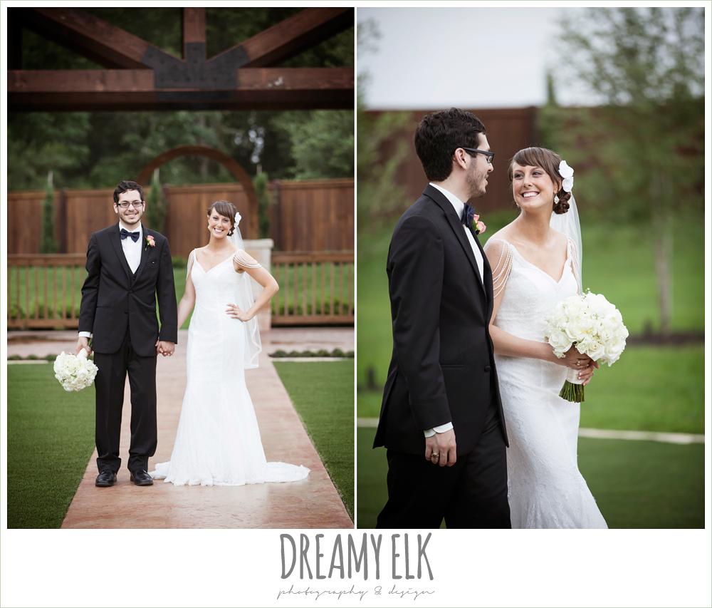 outdoor bride and groom portraits, pearl draped sleeve wedding dress, white wedding bouquet, classic tux and navy bowtie, pecan springs, houston, texas, photo {dreamy elk photography and design}