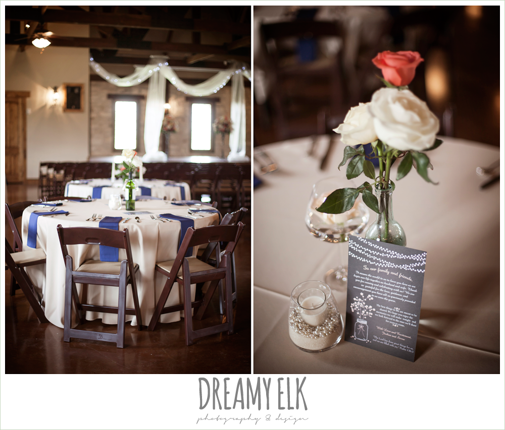 indoor wedding reception decoration ideas, navy and tan linens, table centerpiece floral arrangements, pecan springs, houston, texas, photo {dreamy elk photography and design}
